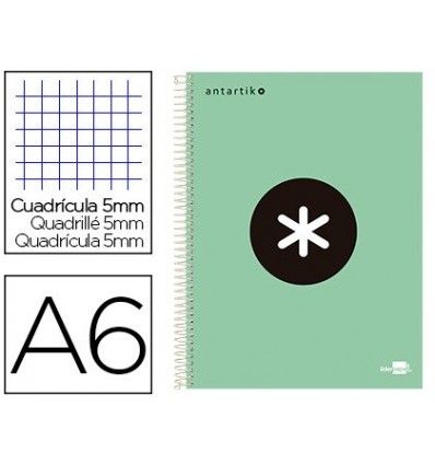 SPIRAL NOTEBOOK LEADERPAPER A6 MICRO ANTARTIK TOP FORRADA100H 100 GR TABLE 5MM 4 BANDACOLOR APPLE GREEN