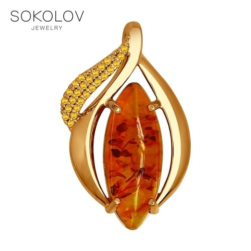 SOKOLOV Pendant Gilded With Silver, Cubic Zirconia And Yellow Amber Natural (abs.) Fashion Jewelry 925 Women's Male