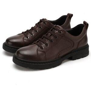 Image 5 - Zapatos de hombre de cuero genuino CAMEL Otoño, vestido de negocios inglés, zapatos de papá cómodos informales, calzado antideslizante de cuero cabelludo grande para hombre