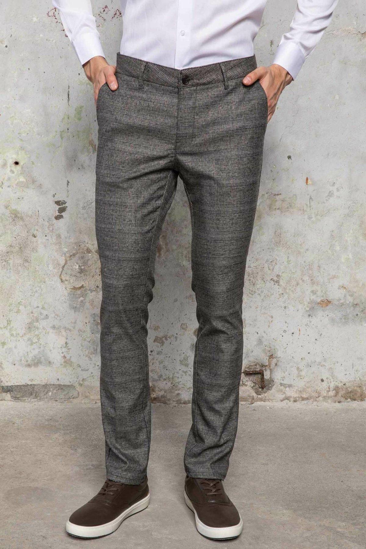 DeFacto Fashion Men's Suit Trousers Classic Business Long Pants Male Casual Plaid Pattern Casual Straight Pants - J4358AZ18WN