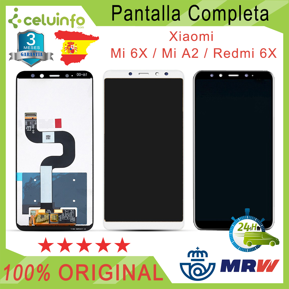 Screen Full No Flat Setting Original Xiaomi Mi 6X Mi A2/Mi  A2 Lite Redmi 6 Pro Color Black White Posted, Shipping From Spain