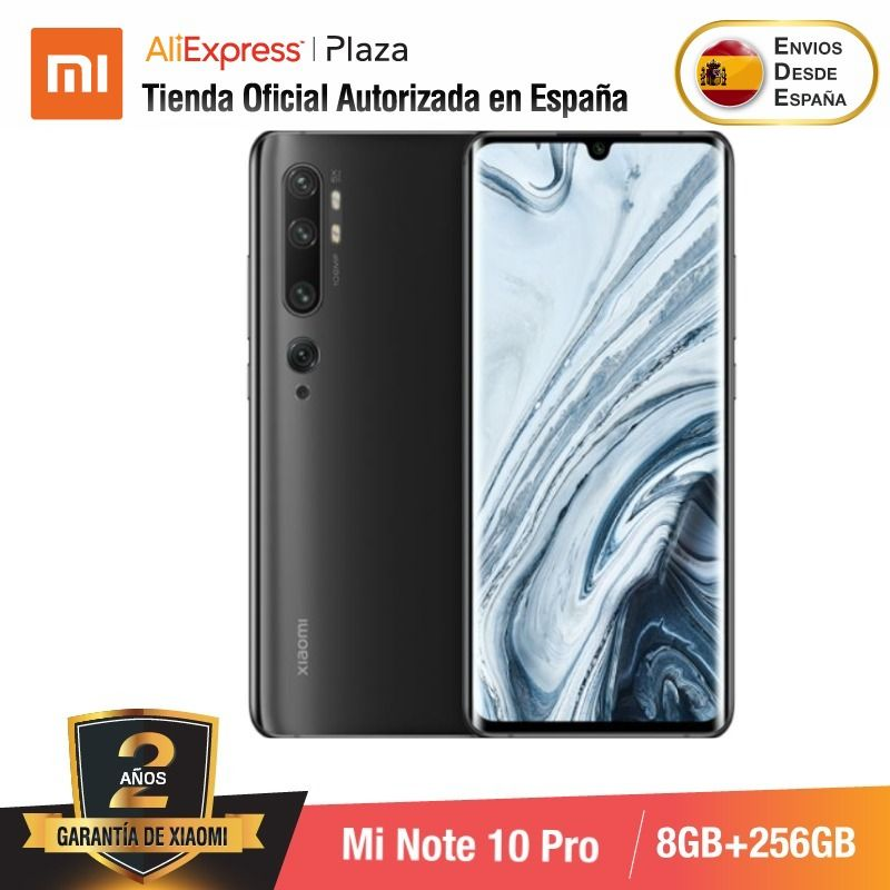 Mi Note 10 PRO (256GB ROM con 8GB RAM,  Cámara 108 MP , Android, Nuevo, Móvil)