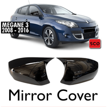 Housse de rétroviseur noir pour Megane 3, ensemble de 2 pièces pour l'extérieur de la voiture, accessoire pour Megane 3, 2008 – 2016