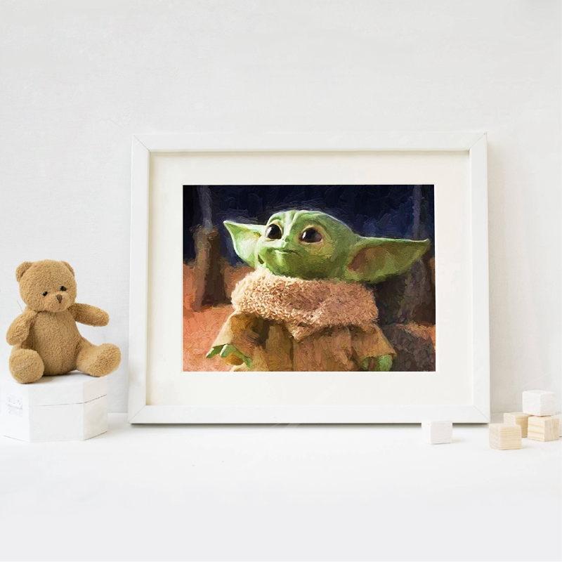 Star Wars Movie Poster Baby Yoda Oil Painting Nursery Decor Mandalorian Wall Art Canvas Prints Wall Picture Kids Room Decoration image