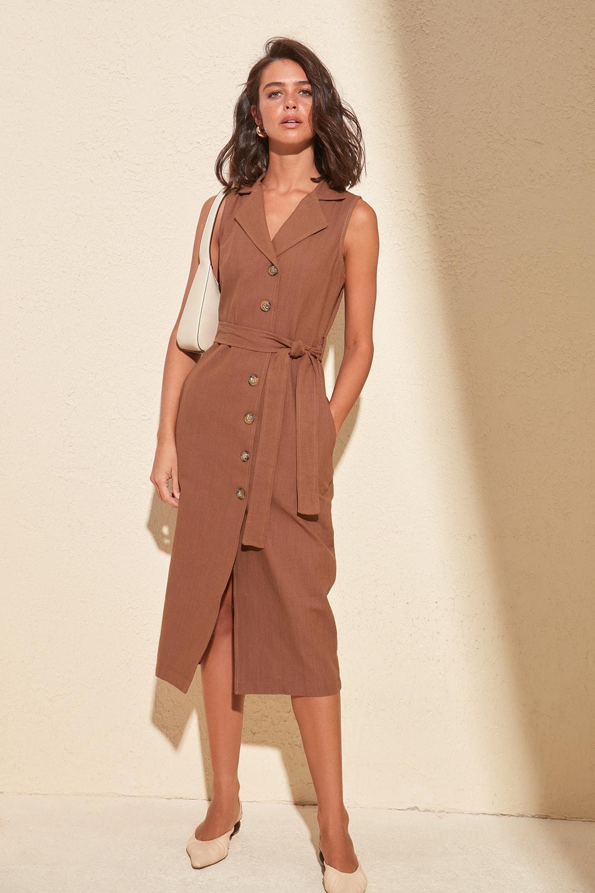 Trendyol Belted Shirt Dress TWOSS20EL0475