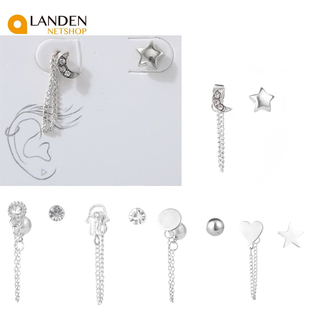 Punk Style Tassel Earrings For Sets For Women, Ethnic Antique Silver Color Crown Stud Earrings For