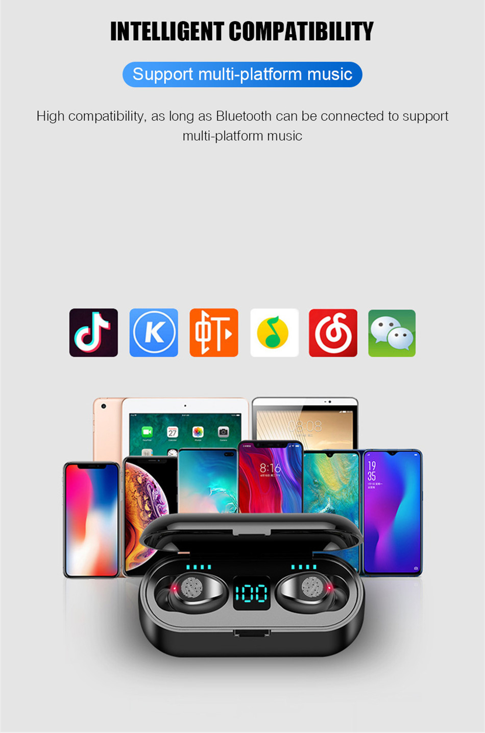 Wireless Earphone Bluetooth V5.0 Wireless Bluetooth Headphone LED Display With 2000mAh Power Bank Stereo Sport Headset With Mic (17)
