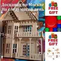 ¡3D de marioneta de casa de madera de Д-102 + muebles + 3D lámpara!