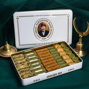 Turecki tradycyjny znane marki Hafız Mustafa Premium pistacjowy baklawa deser asortyment z XL metalowe pudełko darmowa wysyłka DHL tanie i dobre opinie TR (pochodzenie) Gotowanie pochodnie Narzędzia do deserów