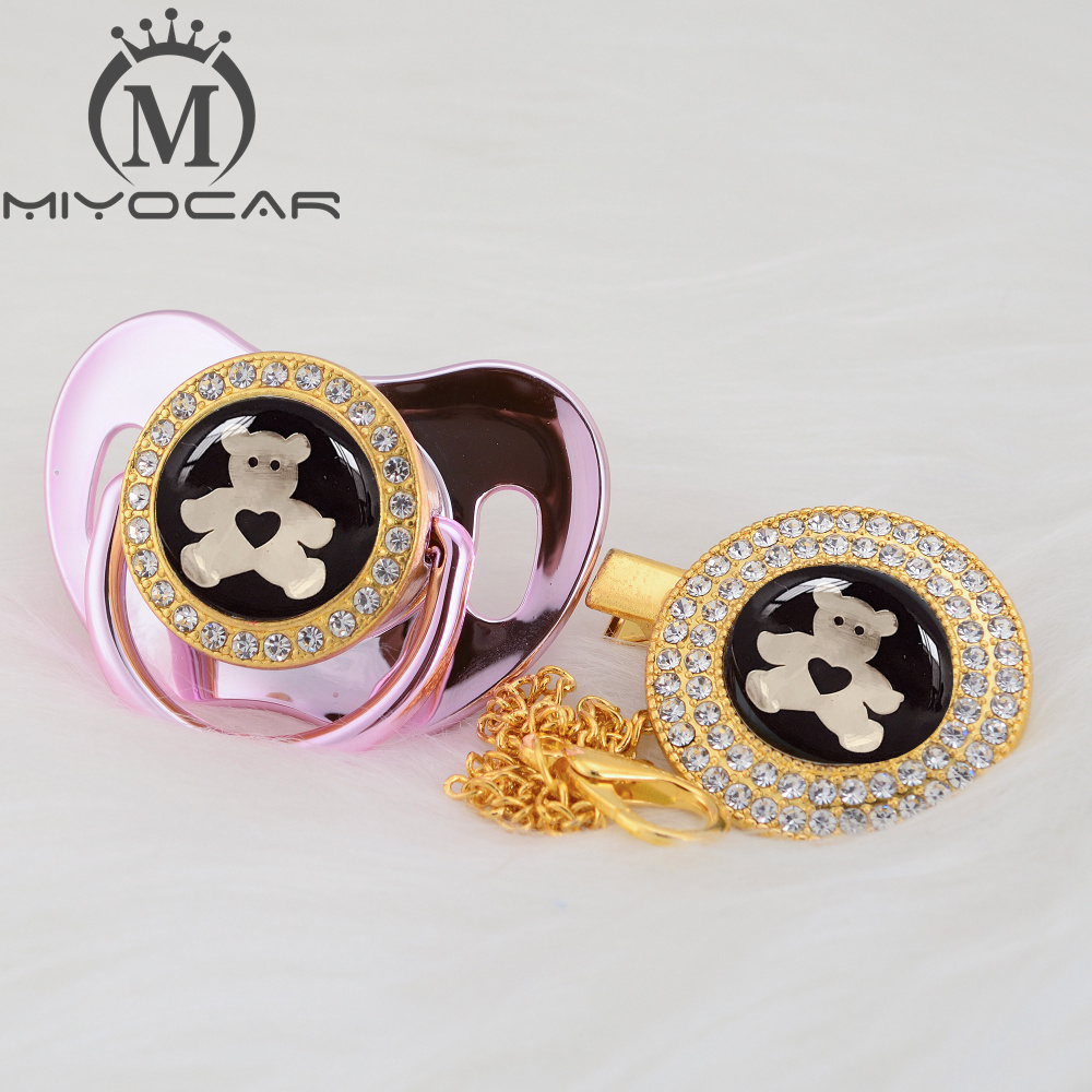 MIYOCAR 7 Colors Lovely Bear Gold Bling Pacifier And Pacifier Clip BPA Free Dummy Bling Unique Design GBEAR