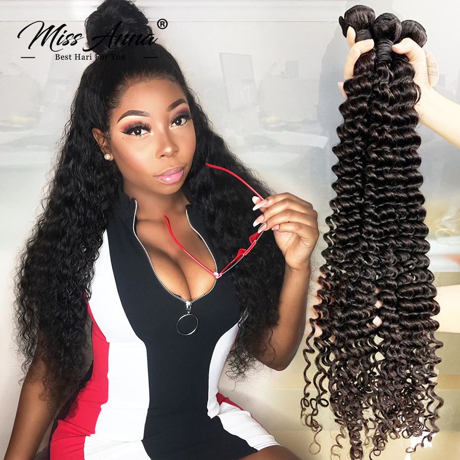 8-34 36 38 Inch Brazilian Human Hair Bundles Deep Wave Hair Weave Natural Color Remy Human Hair Extension 1/3/4PC Free Shipping