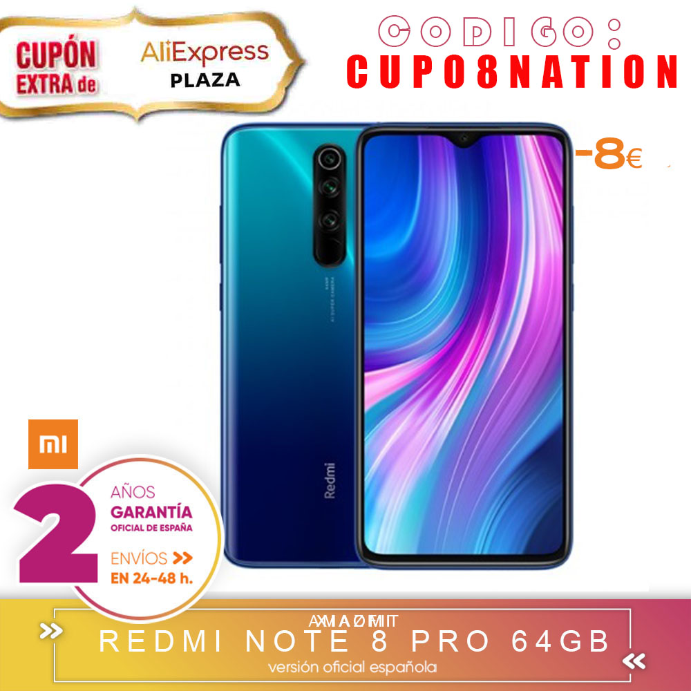 -Guarantee Official Spanish-Xiaomi Redmi Note 8 Pro 6 Hard GB 64 Hard GB Smartphone 64MP Quad Still Cameras MTK Helium G90T Octa Core 4500 MAh