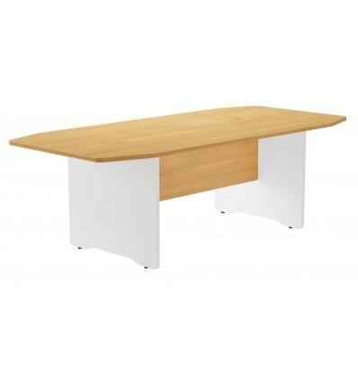 MEETING TABLE 220x100x72CM COLOR: WHITE LEG/OAK BOARD