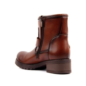 Image 4 - Moxee Tan Leather Women Boots Autumn Winter Boots Shoes Woman Fashion Round Toe Zipper Combat Ladies Shoes Casual Spring Female Ankle Boots Size 36 40 2019 Hot New