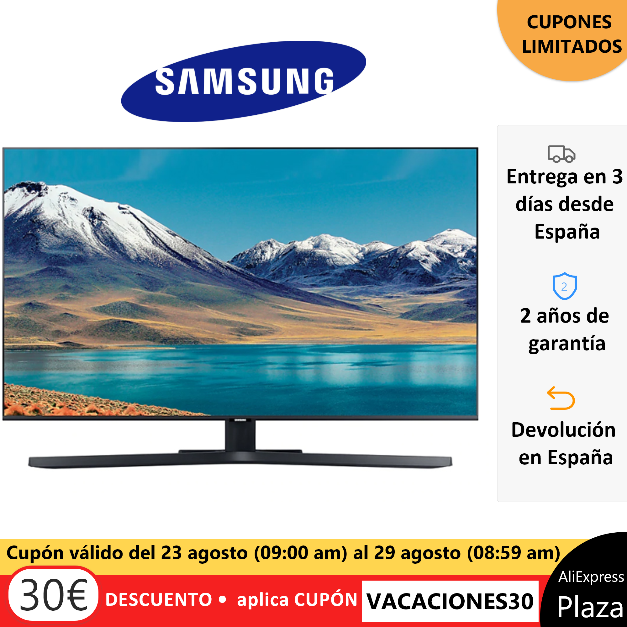 """Televisión Samsung TU850, 65"""", 55""""  y 50"""", Smart TV original, envío desde España, Plaza, Crystal UHD 163cm 65"""" 4K Smart TV 2020"""