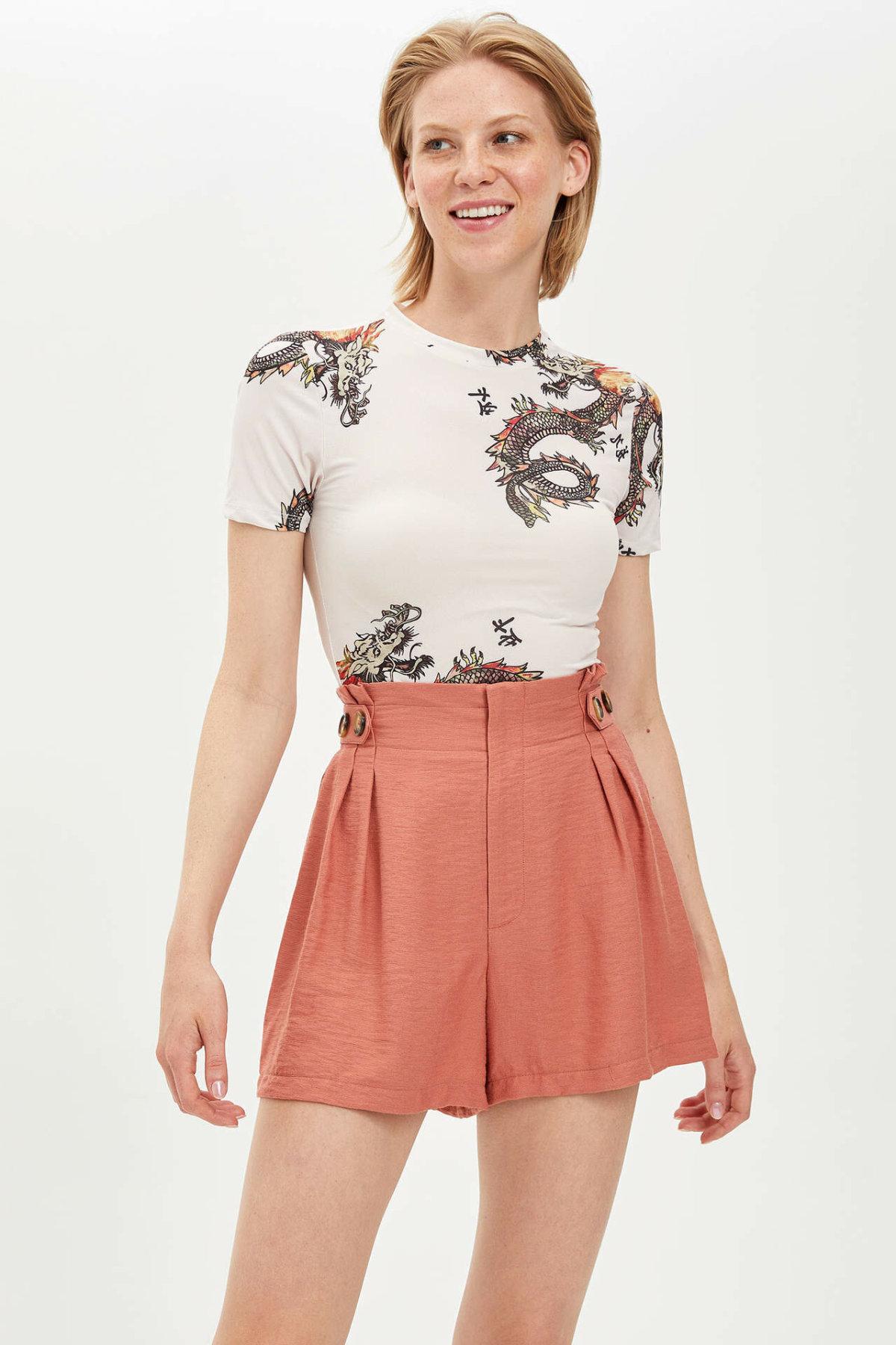 DeFacto Summer Women Solid Loose High Waist Short Pants Female Cotton Casual Simple Short Simple Bottoms New- L9750AZ19HS