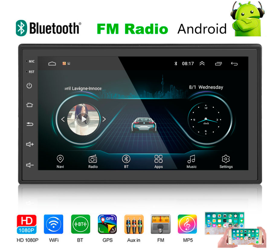 Car radio 2 din 7 ''Android 8,1 IOS/Android mirror link touch screensaver with Bluetooth WIFI GPS FM support tailgate camera image