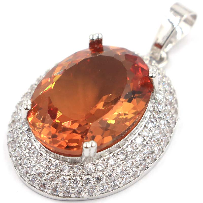 37x23mm Big Rectangle Gemstone Created Changing Color Spinel CZ Present Silver Pendant in Pendants from Jewelry Accessories