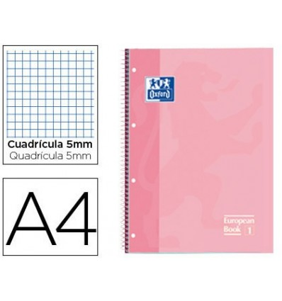 NOTEPAD SPIRAL OXFORD TOP EXTRADURA MICROPERFORATED DIN A4 80 SHEETS PICTURES 5 MM SWEET PINK