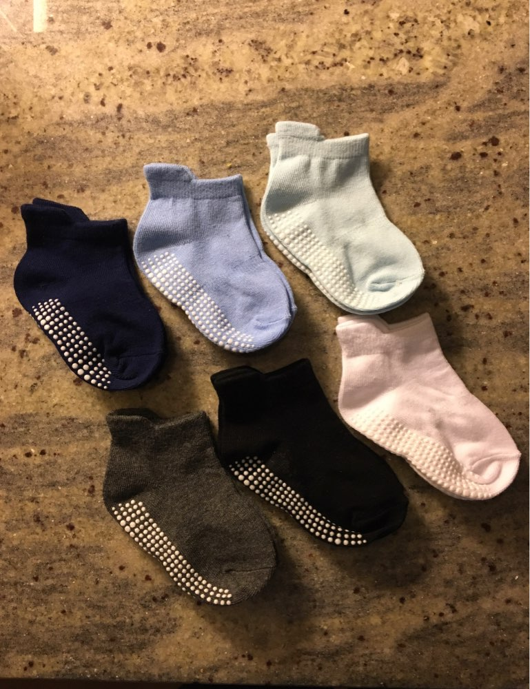 6 Pairs/lot 0 to 6 Yrs Cotton Children's Anti-slip Boat Socks Low Cut Floor Sock For Kid With Rubber Grips Four Season