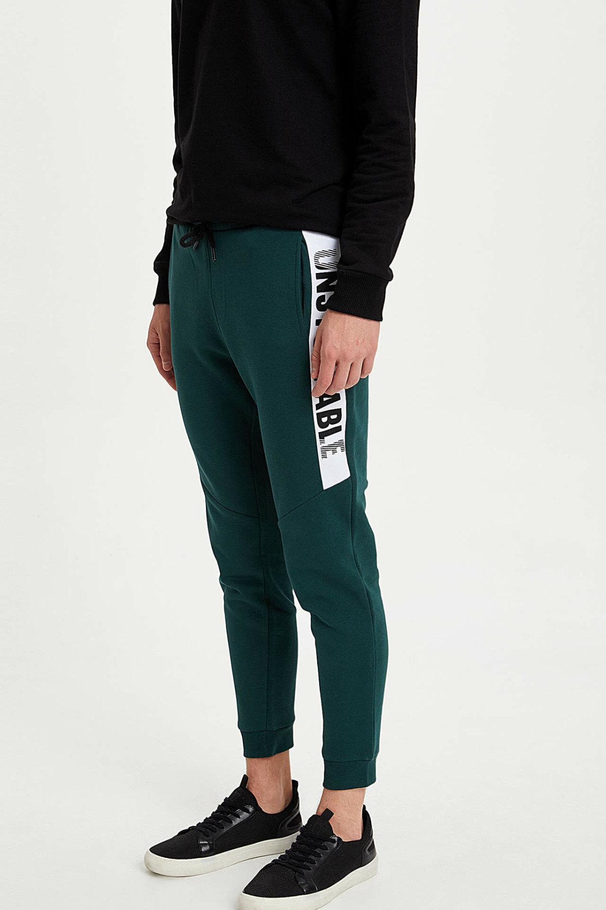 DeFacto Man Casual Drawstring Waist Trousers Letter Pattern Male Sport Long Pants For Men's High Quality Sweatpant - L1810AZ19WN