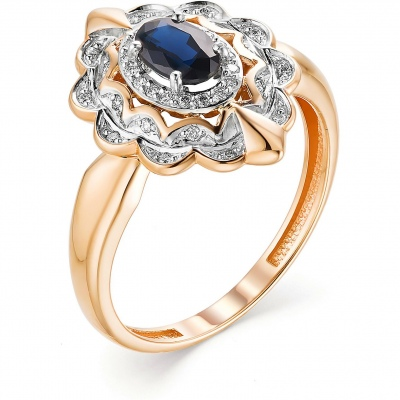 Alcor Ring With Sapphire And Diamonds In Red Gold