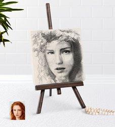 Personalized Women 'S Charcoal Artistic Portrait Design Şovaleli Natural Taş-1