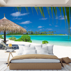 3D wall mural Sea Beach, wallpaper on the wall, for Hall, kitchen, bedroom, nursery, wall mural expanding space