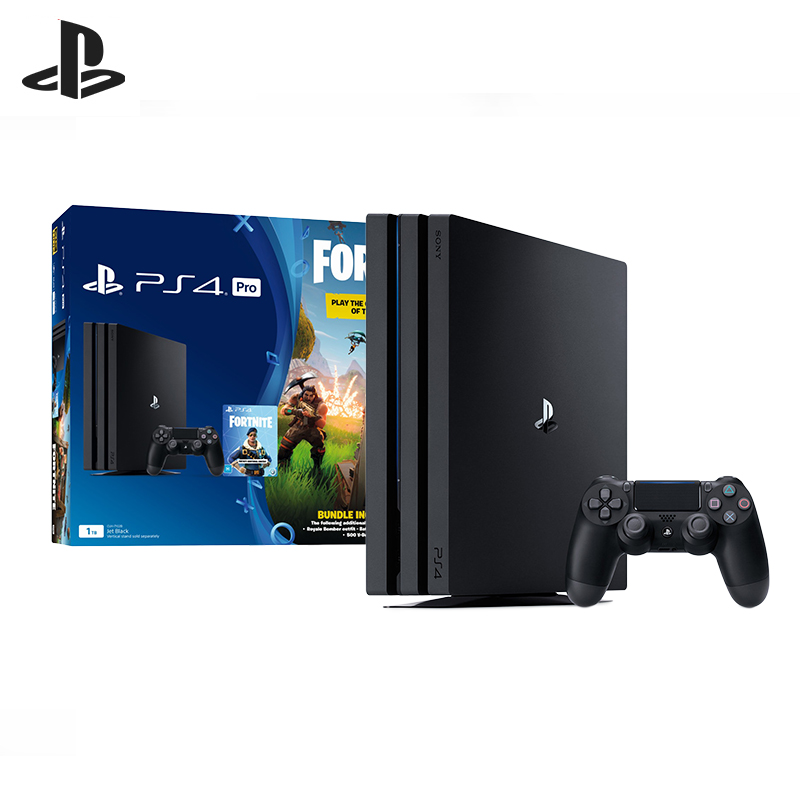 For Sony PlayStation 4 Pro (1 TB) Black (CUH-7208В) + Voucher Fortnite игровая консоль sony playstation 4 slim 1tb black cuh 2208b gran turismo sport god of war horizon zero dawn ce psn 3 месяца