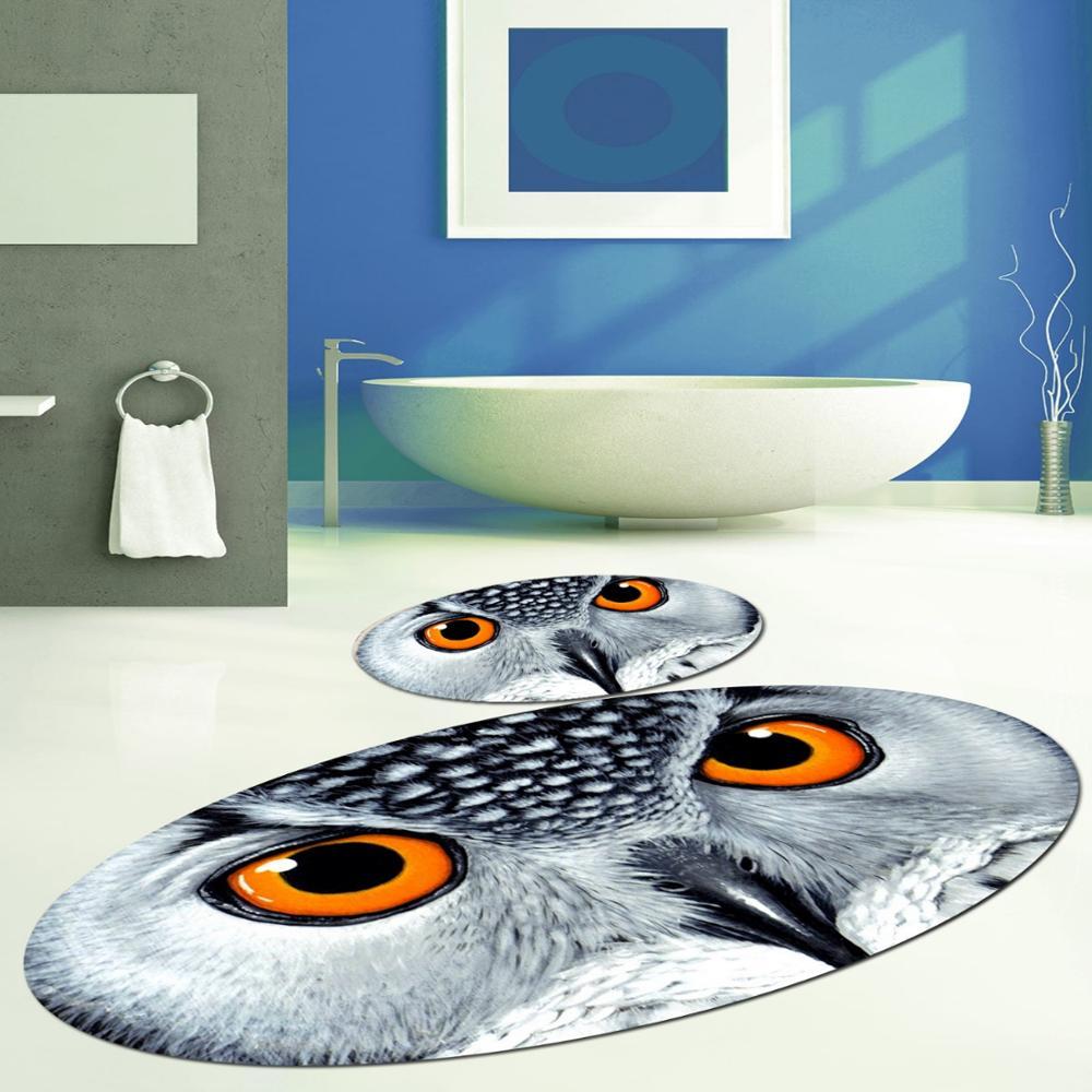 Else Gray White Owl Modern 2 Piece 3d Pattern Print Bath Mats Anti Slip Soft Washable Oval Bathroom Mat Toilet Rugs