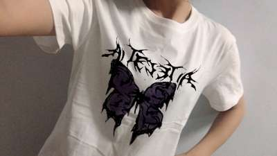 T Shirt Punk Oversized Butterfly Harajuku Dark Tops Male Fashion Swag Aesthetic Unisex Hip hop Gothic T-shirts Streetwe photo review