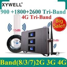 Amplificador celular 4g 900 1800 2600 gsm dcs lte 2g 3g 4g tri-band repetidor de sinal celular 4g impulsionador de sinal