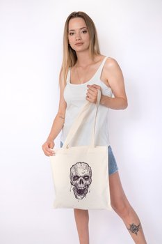 Angemiel Bag Lineal Wild Skull And Crossbones Cotton Shopping Beach Tote Bag image
