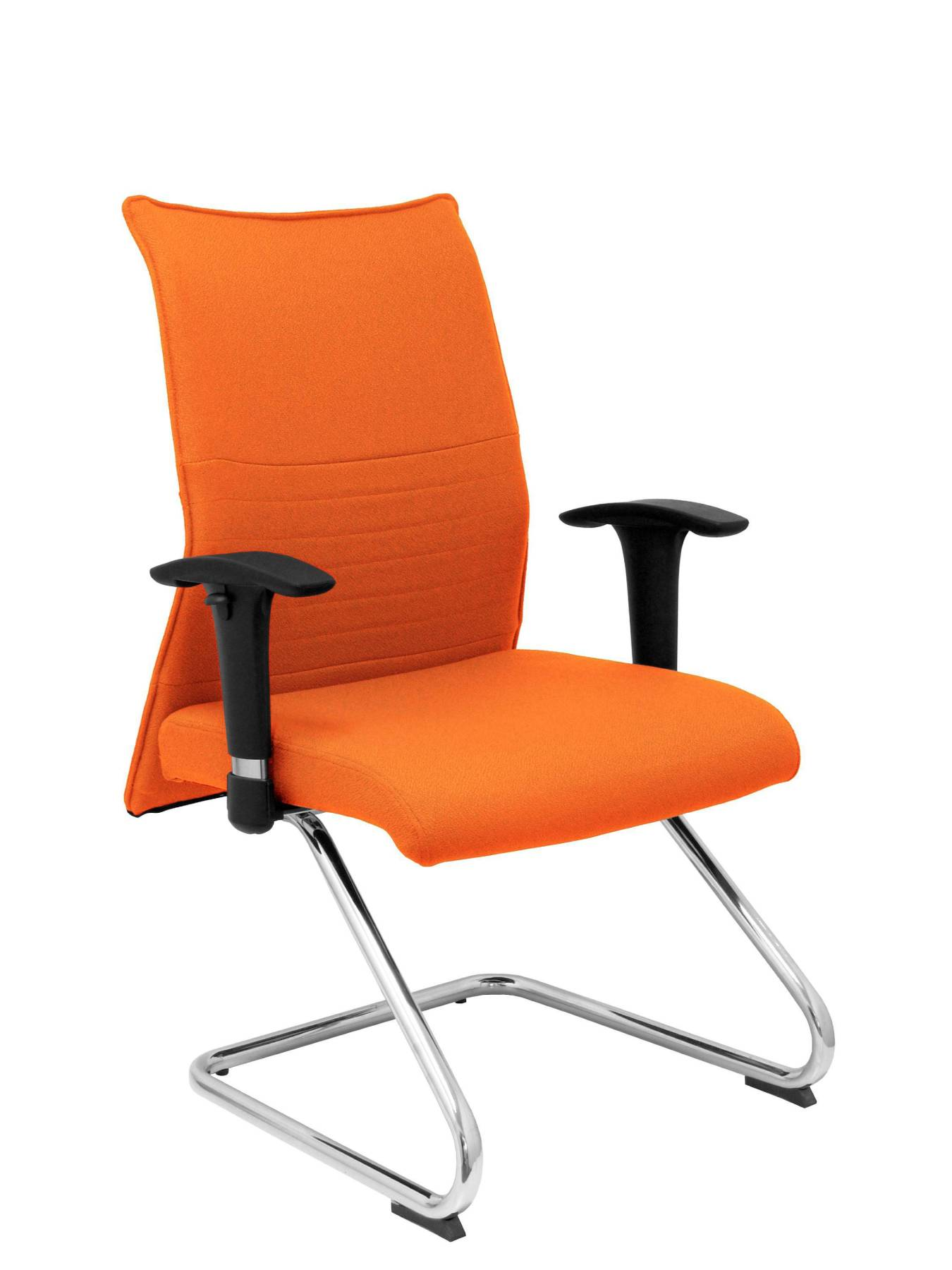 Armchair Confidante Ergonomic For Visits With Skate Chrome Up Seat And Backstop Upholstered In BALI Tissue Color Naranj