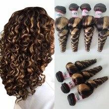 Bestsojoy Highlight loose wave hair bundles Brazilian remy human hair weaving bundles 30inch hair extensions