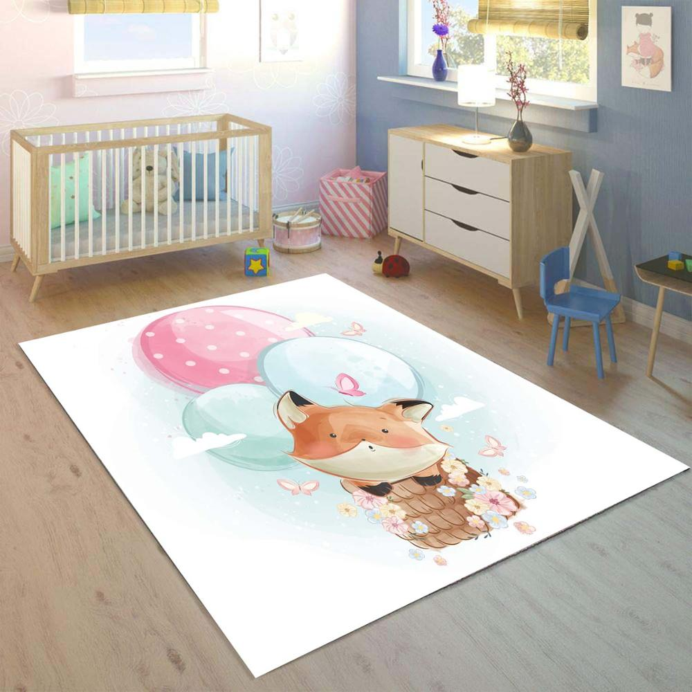 Else Collored Air Balloons On Funny Fox  3d Print Non Slip Microfiber Children Kids Room Decorative Area Rug Mat