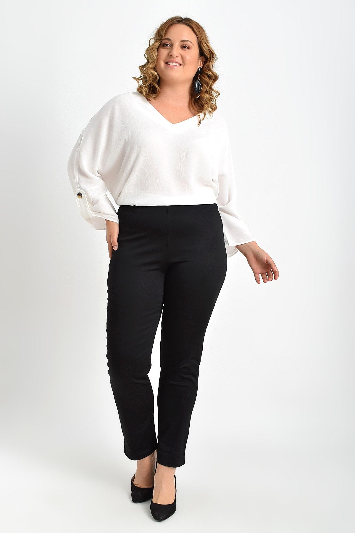 Pantalones De Gabardina Con Cinturon De Goma Negro Para Mujeres Grandes Y Libres Tb20kb110187 Vestidos Aliexpress