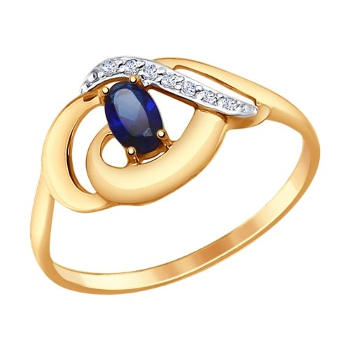 Ring. Gold Corundum Sapphire Crystal (synthetic) And Cubic Zirconia