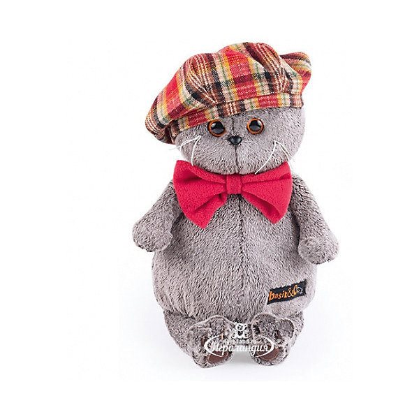 Soft Toy Budi Basa Cat Bass In Red Checked Beret With Bowknot Fleece 19 Cm