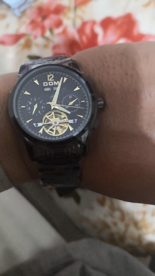 DOM Fashion Design Skeleton Men Mechanical Watch Luminous Hands Transparent Steel Bracelet For Men Top Brand Luxury M-75BK-1MW
