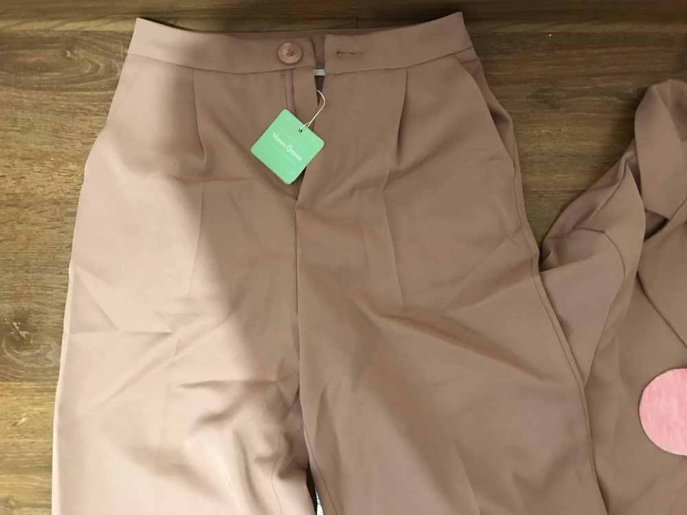 Брюки женский костюм зубчатый длинный Повседневный пиджак блейзер женский + широкие брюки на пуговицах 2 шт 2020 женские осенне-весенние розовые наряды