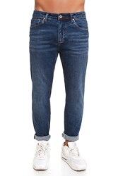 CR7 Jeans voor mannen Donkerblauw Casual Jeans Casual Slim Was Dun met Vijf Zakken CRD001A