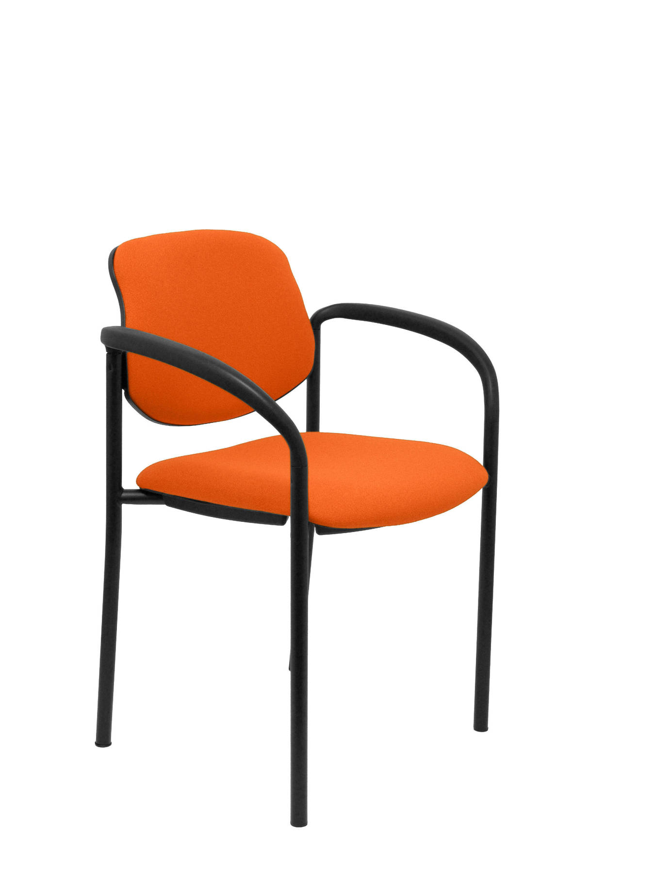 Visitor Chair 4's Topsy, With Arms And Estructrua Negro-up Seat And Backstop Upholstered In BALI Tissue Orange P