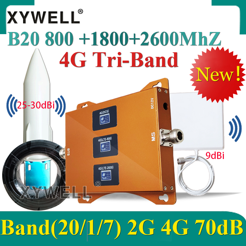 New!! B20 800/1800/2600mhz Tri-Band 2g 3g 4g Cellular Signal Booster LTE DCS 4G Cellular Amplifier 4g Cellphone GSM Repeater 4G