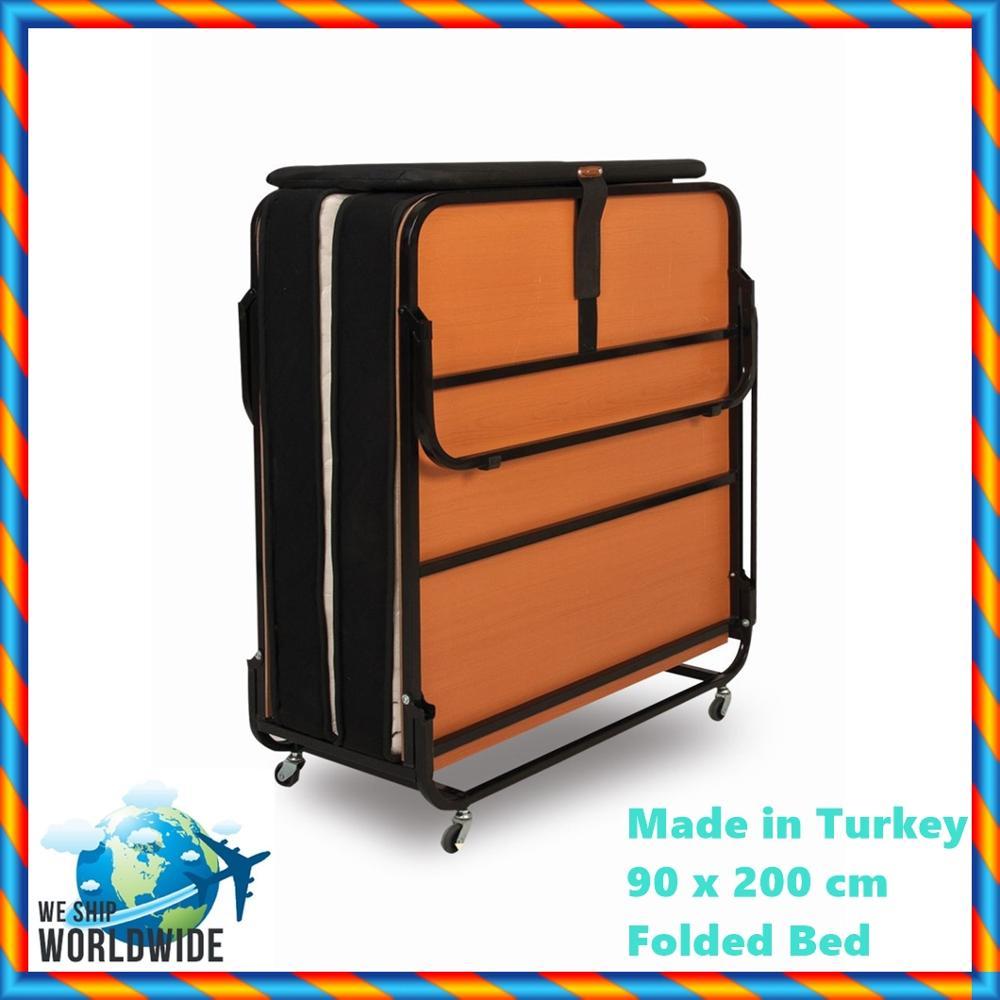 In Der Türkei Beste Qualität A + Orthopädische Sprung Klapp Bett mit Latten 90x200 cm Babytragetasche Camp bett EDELSTAHL Rückenlehne