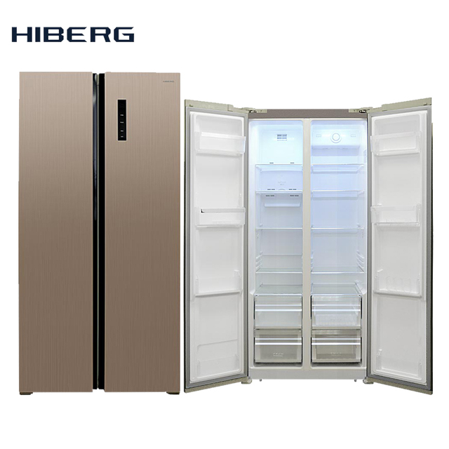 Холодильник Side-by-Side HIBERG RFS-480D NFH, фасад цвета шампань, обьем 450 л