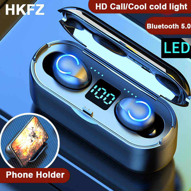 Hkfz Bluetooth Earphone Tws Headphone Power Bank 2500 MAh Wireless Earbud Gaming Headset dengan MIC untuk Xiaomi Iphone Ponsel