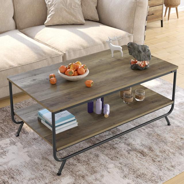 Industrial Coffee Table w/  Storage Shelf 2