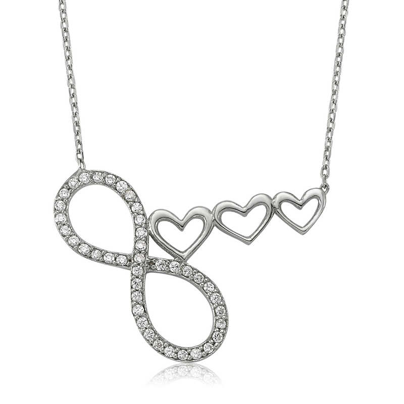 Armagano 100% 925 Sterling Silver Infinity Heart Woman Necklace Quality and Original Women Amulets