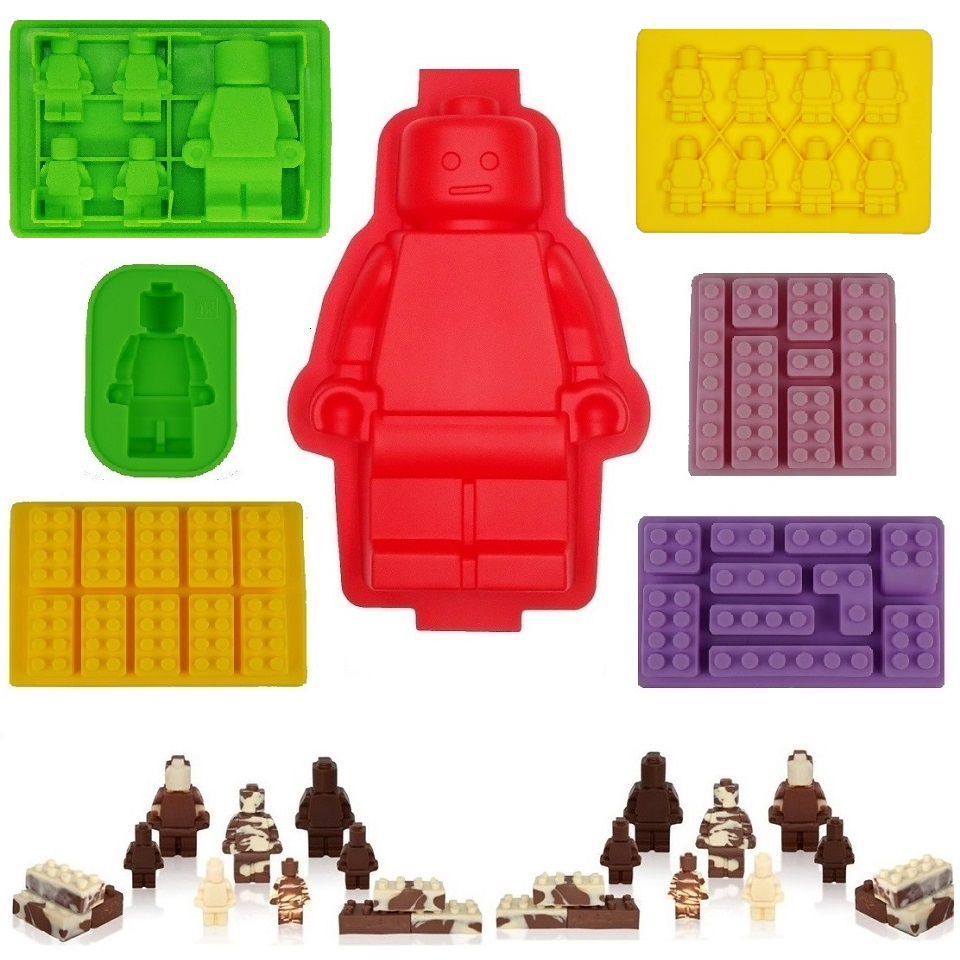 Robot Ice Cube Tray lego Silicone Mold Candy Chocolate Cak Moulds For Kids Party's and Baking Minifigure Building Block Themes image